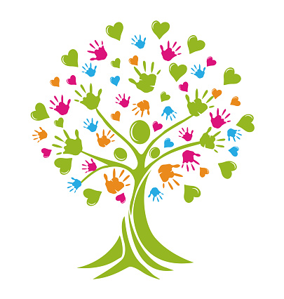 Tree colorful hands helping families symbol icon vector template. Preschool concept